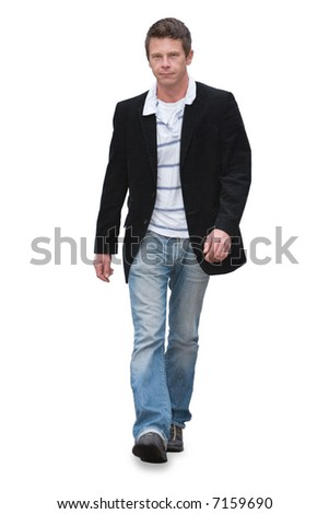 Man in jeans walking isolated on white - stock photo