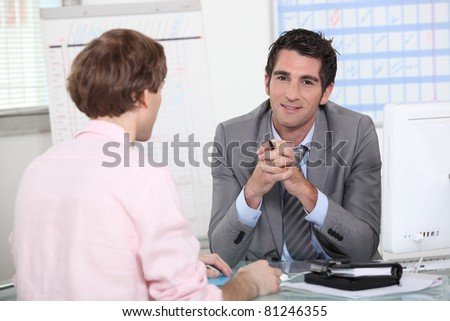 man in job interview - stock photo