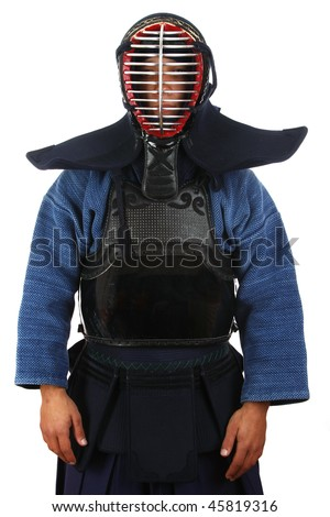 Man in kendo uniform, isolated on white. - stock photo