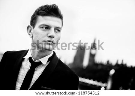man in london - stock photo