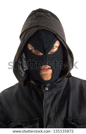 Man in mask against white background