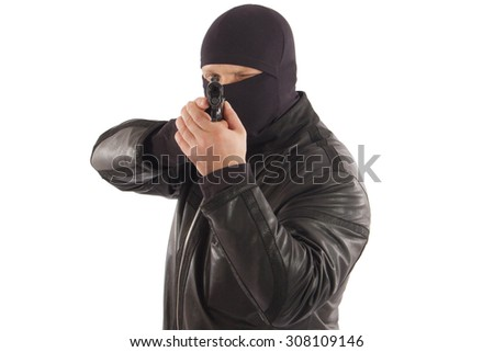 man in mask with a gun isolated on white background - stock photo