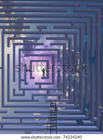 Man in maze - stock photo