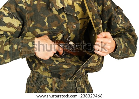 Man in military uniform gets a gun on a white background - stock photo