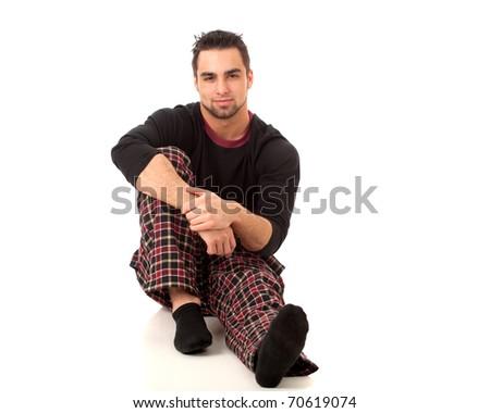 Man in Pajamas - stock photo