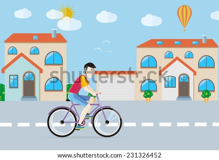 Man in red T-shirt riding his bike on the road among buildings in town. Raster version - stock photo
