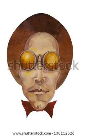 man in round sun glasses and top hat cartoon style watercolor painting - stock photo
