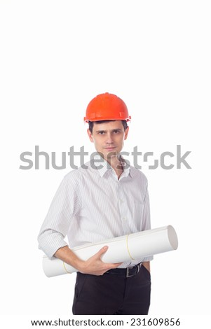man in shirt in orange construction helmet with a roll of paper in his hands; isolate background