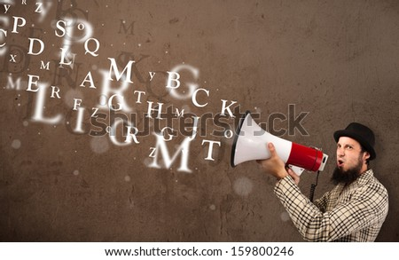 Man in shirt shouting into megaphone and abstract text come out - stock photo