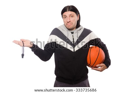 Man in sports concept isolated on white - stock photo
