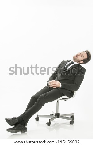 man in suit asleep on a chair  on isolated background
