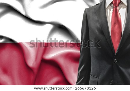 Man in suit from Poland - stock photo