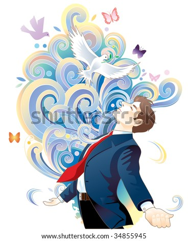 Man in suit spreading arms - stock photo