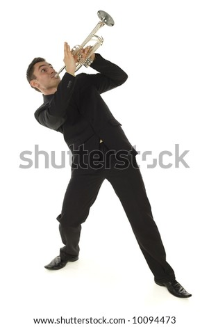 Man in suit standing and trumpet melody. Whole bod. Isolated white background.