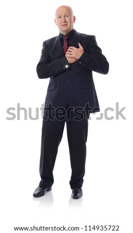 Man in suit stress heart attack isolated on white - stock photo