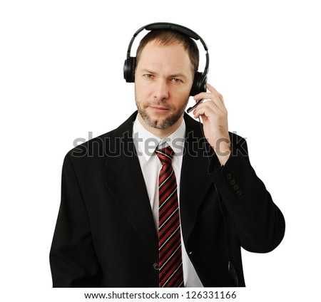 Man in suit with headset isolated on white - stock photo