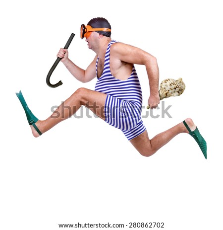 Man in swim dress running isolated on white background. Last moment for holiday at sea. Retro vintage style diver runs with snorkeling equipment and shell.