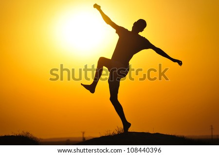 Man in the sunset jump and shout