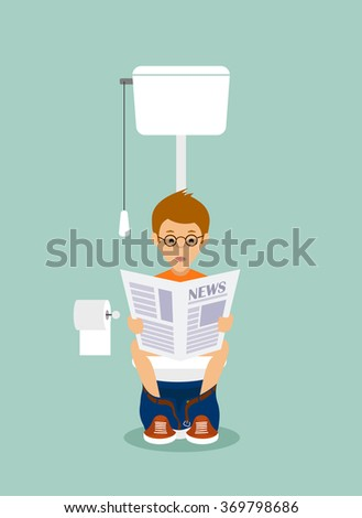 man in the toilet room flat style. - stock photo