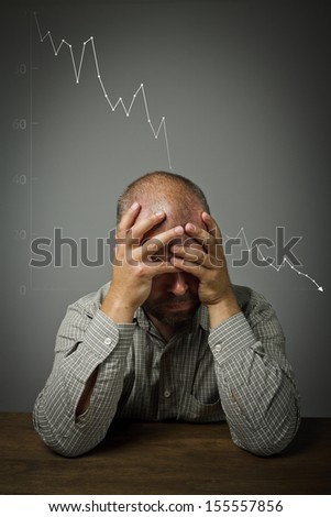 Man in thoughts. Expressions, feelings and moods. Recession concept. - stock photo
