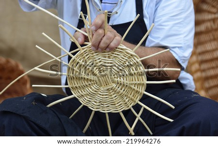 man in traditional basketwork - stock photo