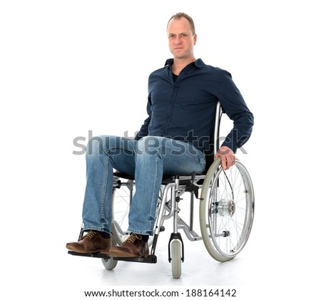 man in wheelchair  - stock photo