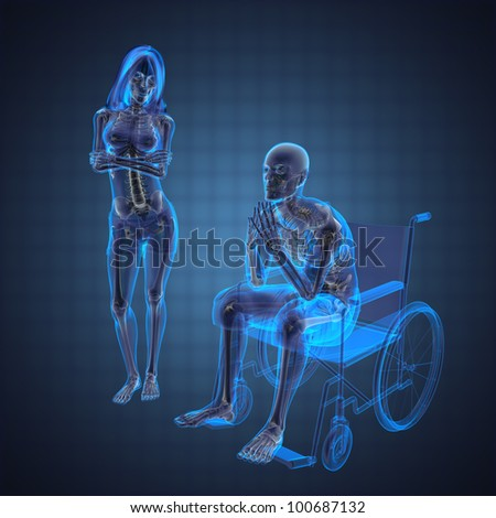 Man in wheelchair made in 3D