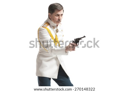 man in white guard russian officer coat with gun