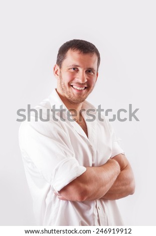Man in white shirt over white background