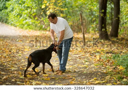 Man in white t-shirt is fighting with a dobarmann in the wood. - stock photo