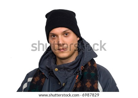 man in winter clothes posing, studio isolated