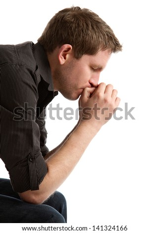 man in worry - stock photo