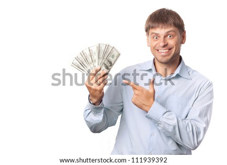 Man indicate to money. White background.Space - stock photo
