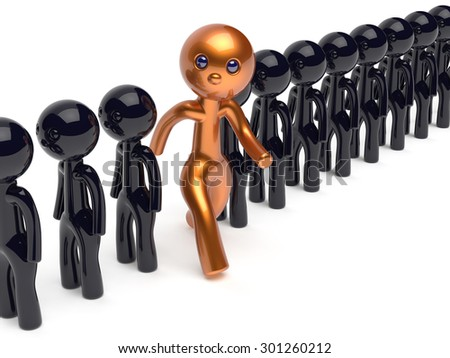 Man individuality different people unique character stand out from the crowd original brave think differ person otherwise run to new opportunities concept human resources icon 3d render isolated - stock photo