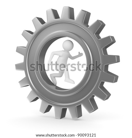man into gear. Isolated 3D image