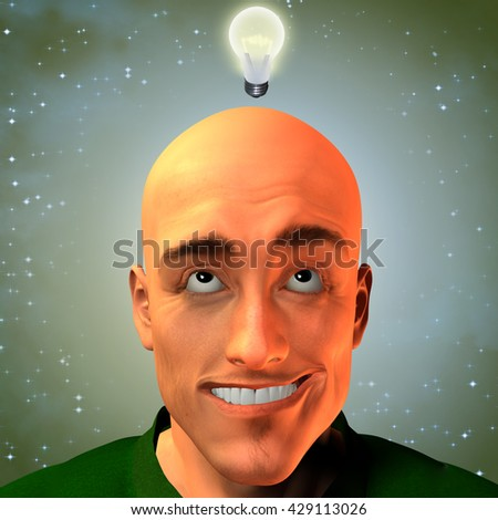 Man invent with stars 3D Render - stock photo