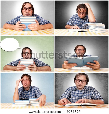 Man is chilling with the books - stock photo