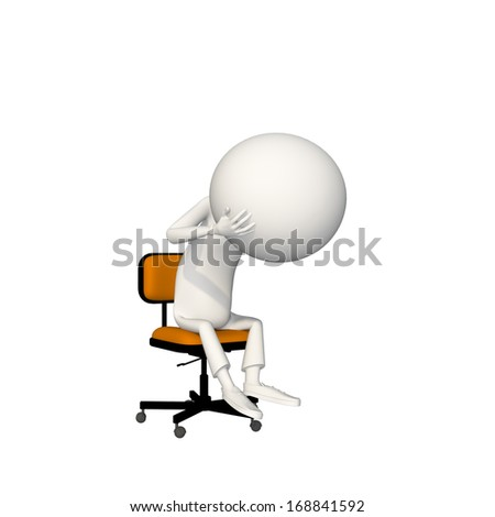 Man is depressed and holding his gigantic head in orange chair. View 6/6.