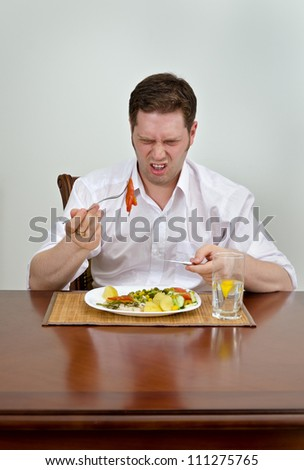Man is disappointed with his dish