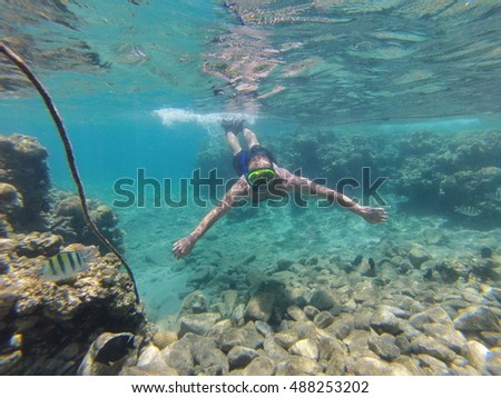 man is  diving underwater with a mask with a tube for snorkeling. Red Sea, Israel