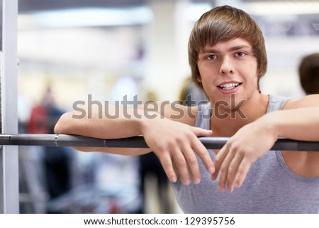 Man is engaged in fitness club