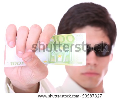 Man is paying with euro banknote, financial background selective focus - stock photo