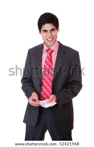 Man is paying with euro banknotes, financial background - stock photo