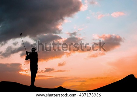 Man is playing golf against cloudy sky - stock photo