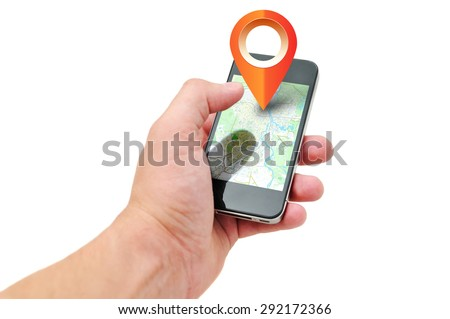 Man is running the program of navigation. The navigation software is on your phone. - stock photo