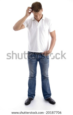 man itching his head showing confusion on an isolated white background - stock photo