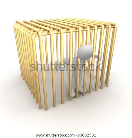 Man jailed in golden cage. 3d rendered illustration. - stock photo