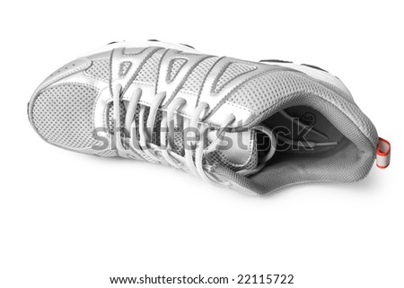 man jogging shoe on white (contains clipping path) - stock photo