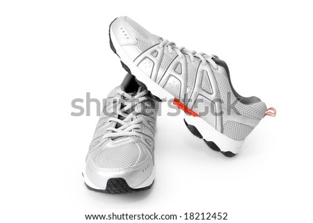 man jogging shoes on white (contains clipping path) - stock photo