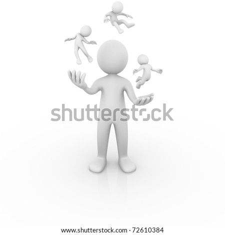 Man juggling with people - stock photo